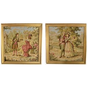 Pair of Vintage French Tapestry Pictures